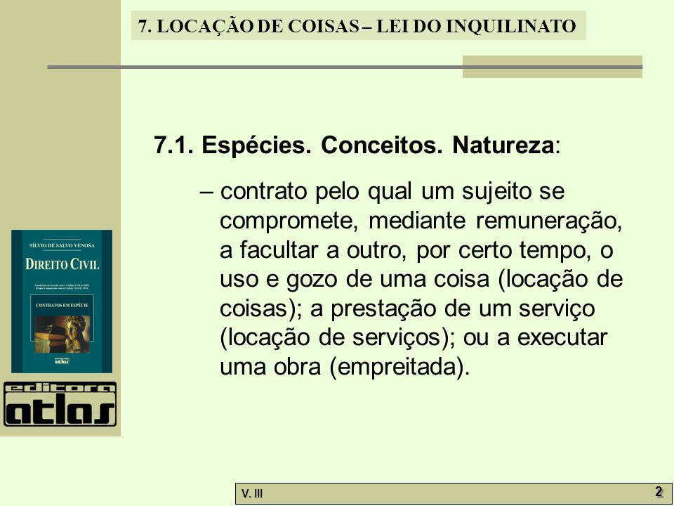 7.1. Espécies. Conceitos. Natureza: