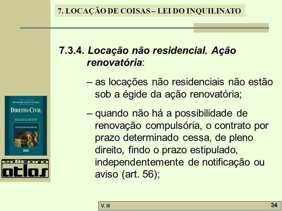 7.3.4. Locação não residencial. Ação renovatória: