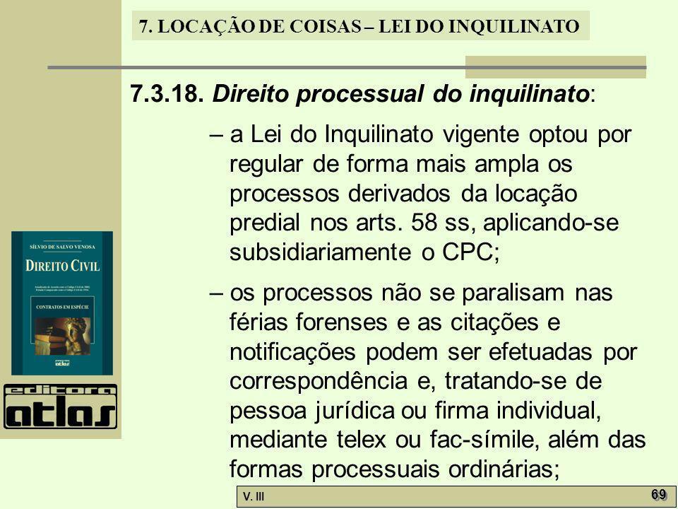 7.3.18. Direito processual do inquilinato: