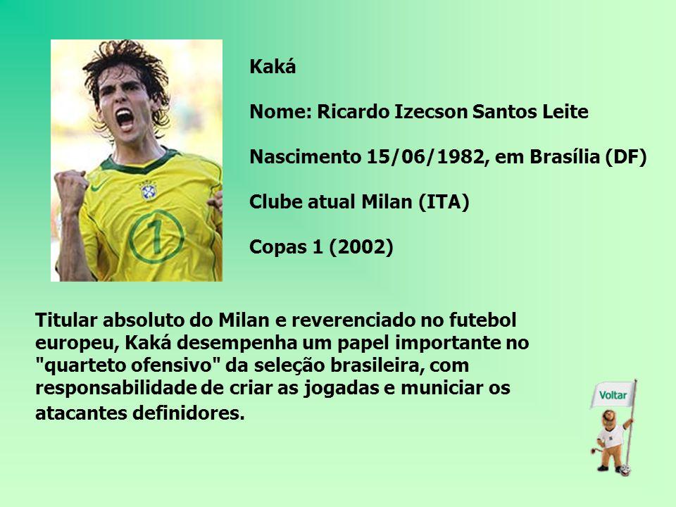 Kaká Nome: Ricardo Izecson Santos Leite. Nascimento 15/06/1982, em Brasília (DF) Clube atual Milan (ITA)