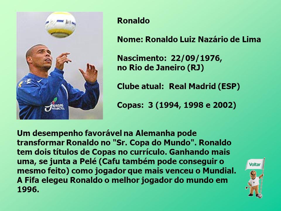 Ronaldo Nome: Ronaldo Luiz Nazário de Lima. Nascimento: 22/09/1976, no Rio de Janeiro (RJ) Clube atual: Real Madrid (ESP)