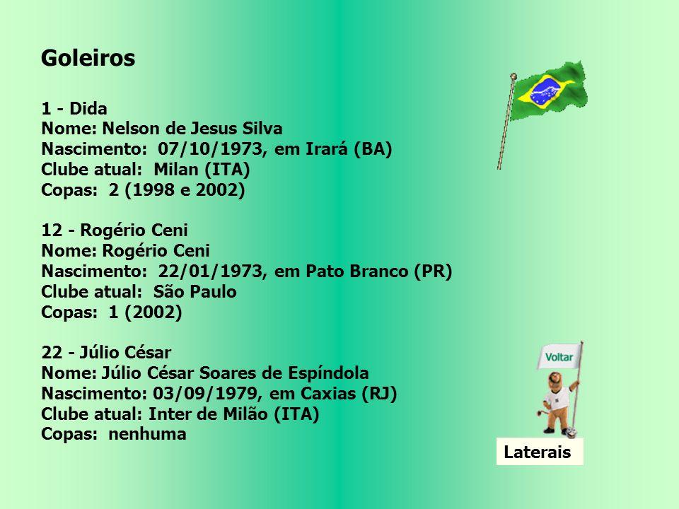 Goleiros 1 - Dida Nome: Nelson de Jesus Silva