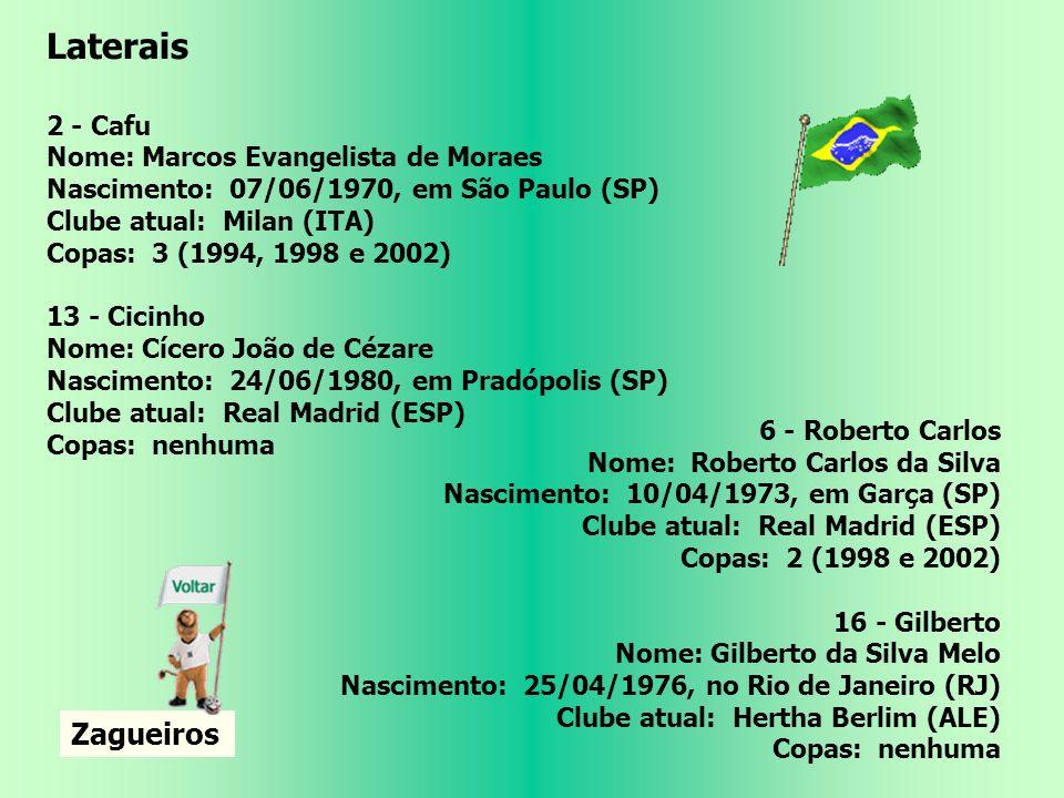 Laterais Zagueiros 2 - Cafu Nome: Marcos Evangelista de Moraes