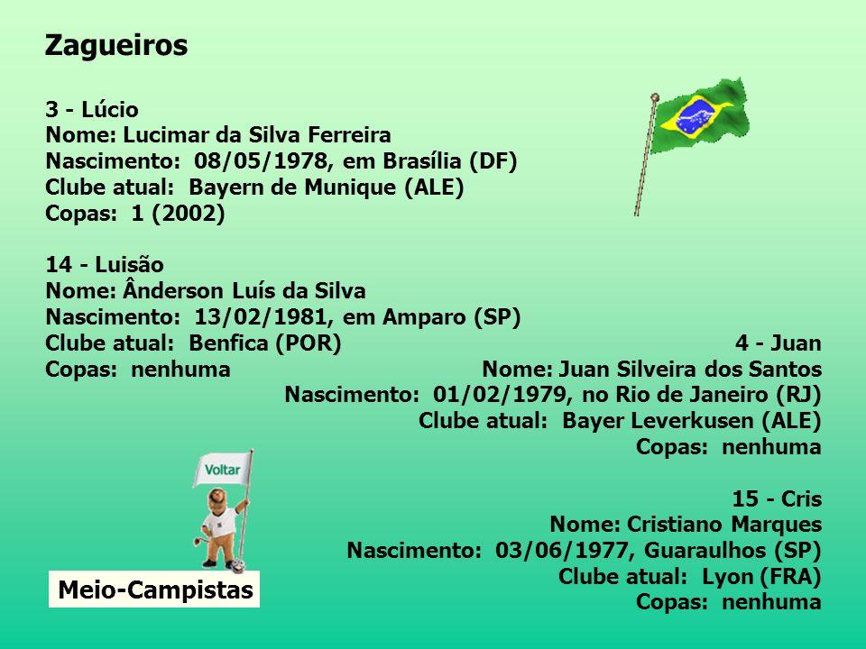 Zagueiros Meio-Campistas 3 - Lúcio Nome: Lucimar da Silva Ferreira