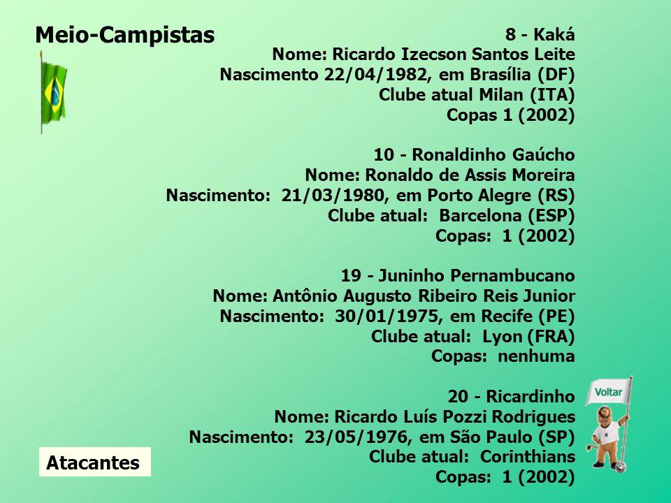 Meio-Campistas Atacantes 8 - Kaká Nome: Ricardo Izecson Santos Leite