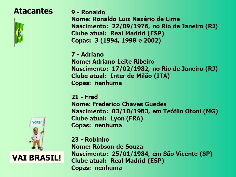 Atacantes VAI BRASIL! 9 - Ronaldo Nome: Ronaldo Luiz Nazário de Lima