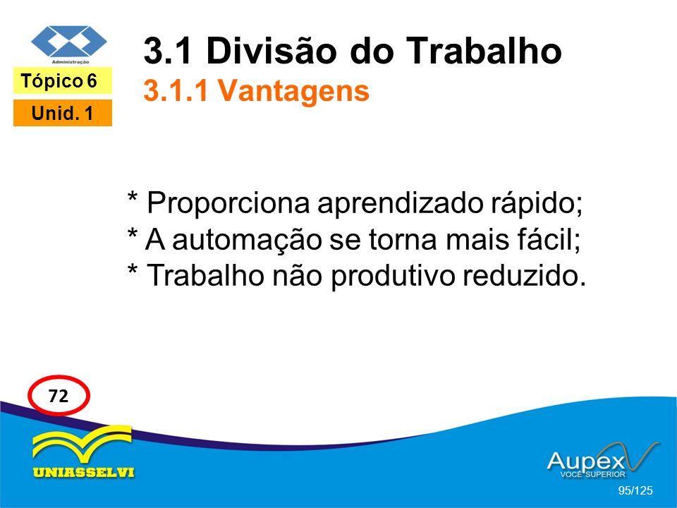 3.1 Divisão do Trabalho 3.1.1 Vantagens
