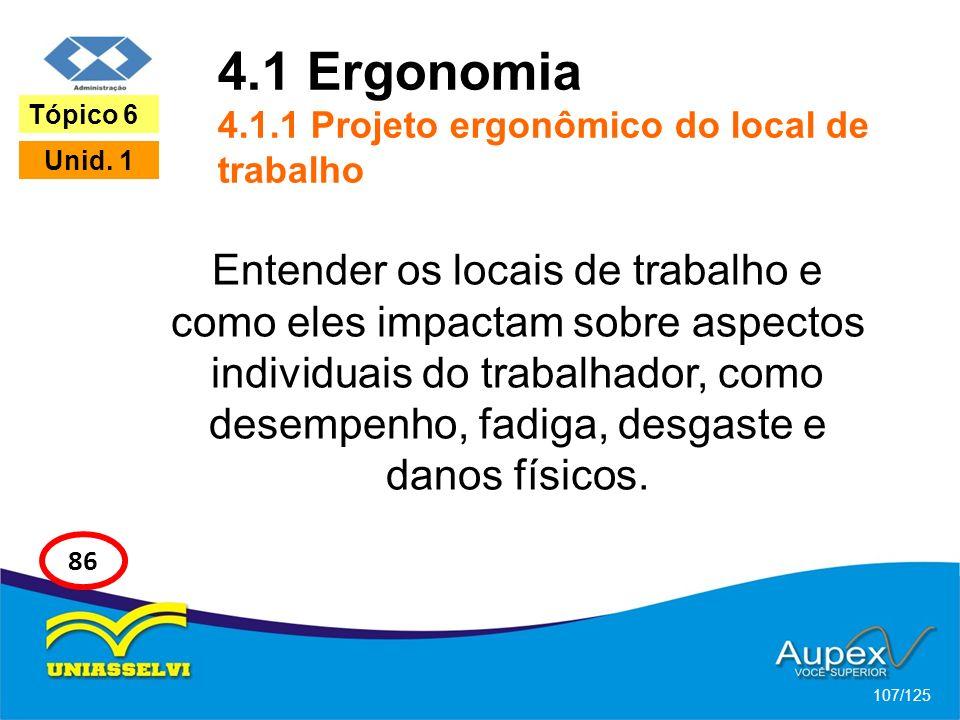 4.1 Ergonomia 4.1.1 Projeto ergonômico do local de trabalho