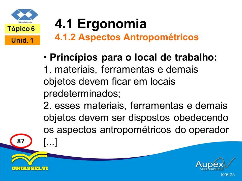 4.1 Ergonomia 4.1.2 Aspectos Antropométricos