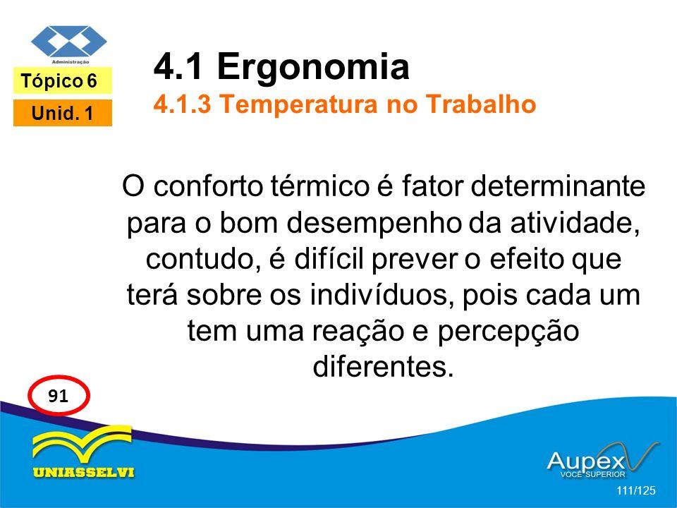 4.1 Ergonomia 4.1.3 Temperatura no Trabalho