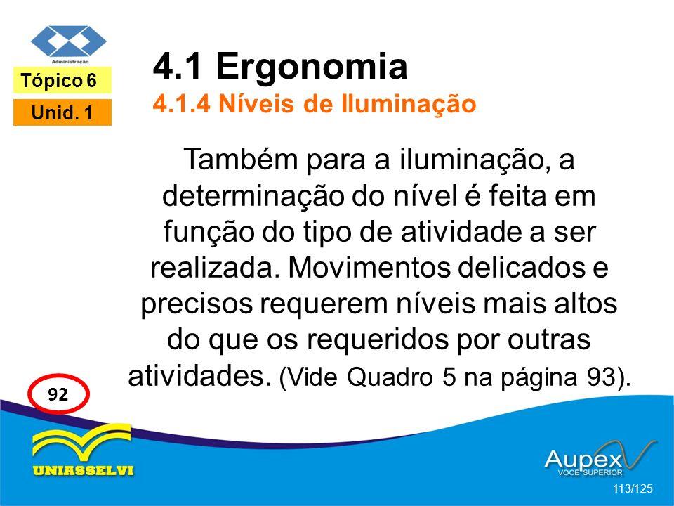 4.1 Ergonomia 4.1.4 Níveis de Iluminação