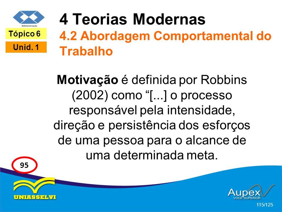 4 Teorias Modernas 4.2 Abordagem Comportamental do Trabalho