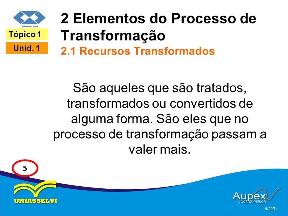 2 Elementos do Processo de Transformação 2.1 Recursos Transformados