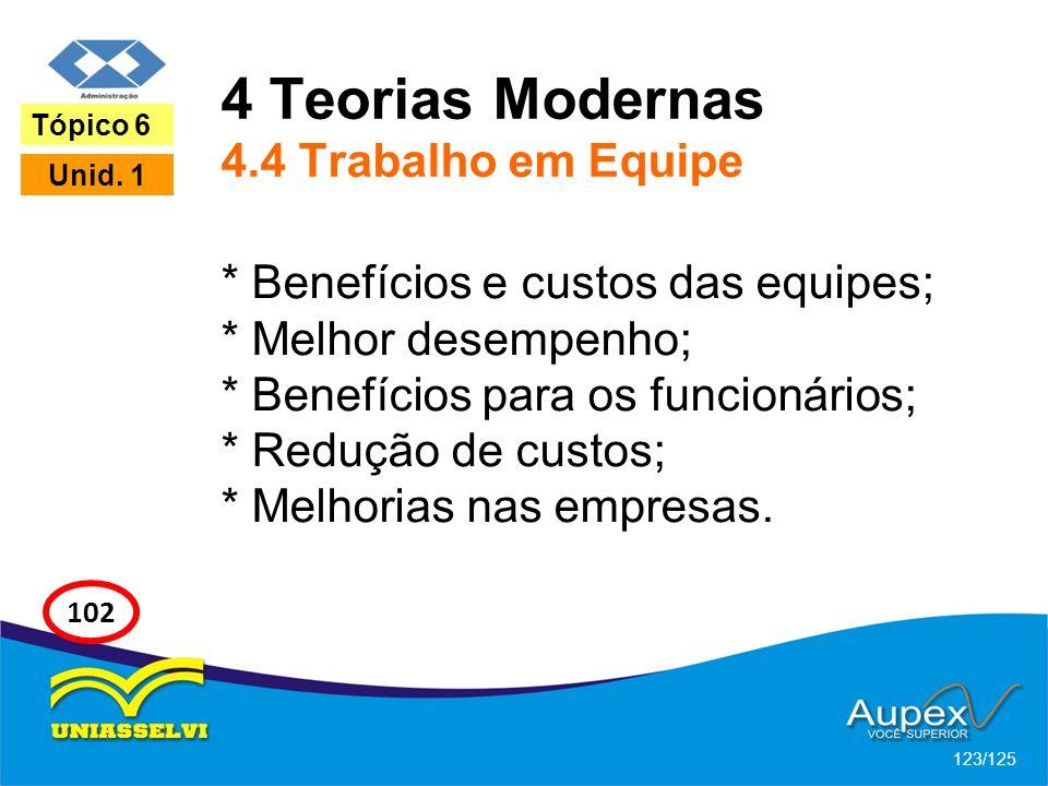 4 Teorias Modernas 4.4 Trabalho em Equipe