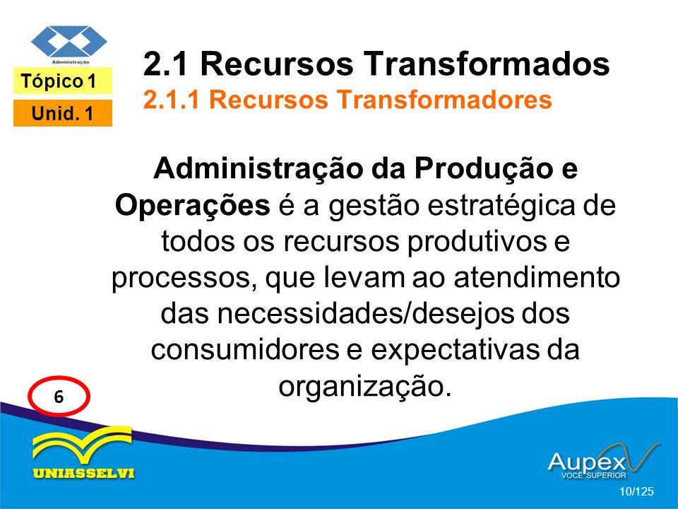 2.1 Recursos Transformados 2.1.1 Recursos Transformadores
