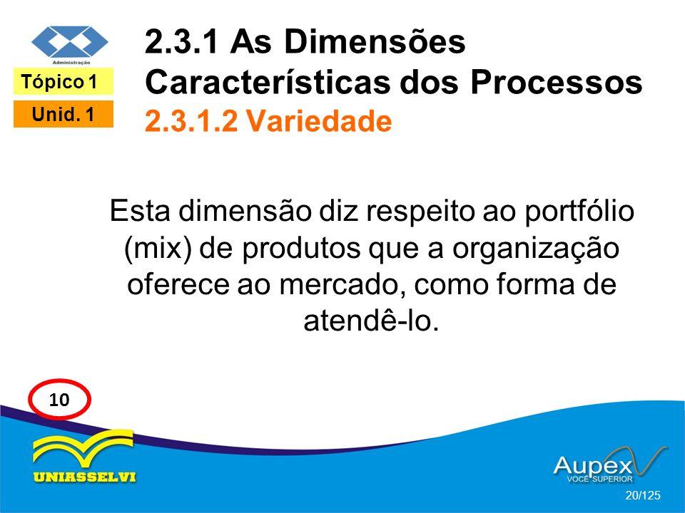 2.3.1 As Dimensões Características dos Processos 2.3.1.2 Variedade