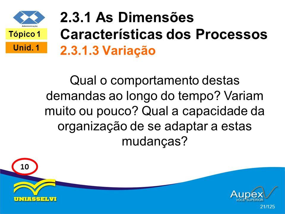 2.3.1 As Dimensões Características dos Processos 2.3.1.3 Variação
