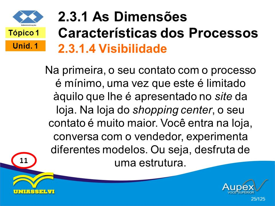 2.3.1 As Dimensões Características dos Processos 2.3.1.4 Visibilidade