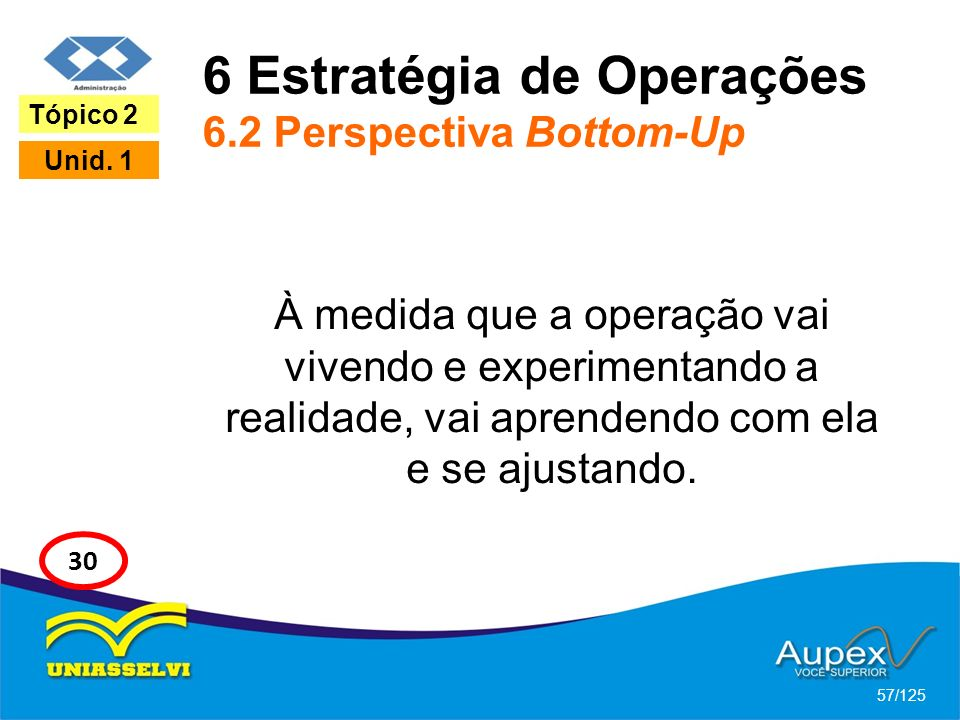 6 Estratégia de Operações 6.2 Perspectiva Bottom-Up