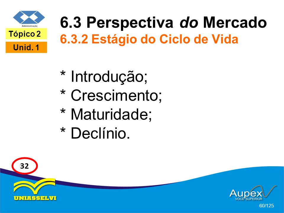 6.3 Perspectiva do Mercado 6.3.2 Estágio do Ciclo de Vida