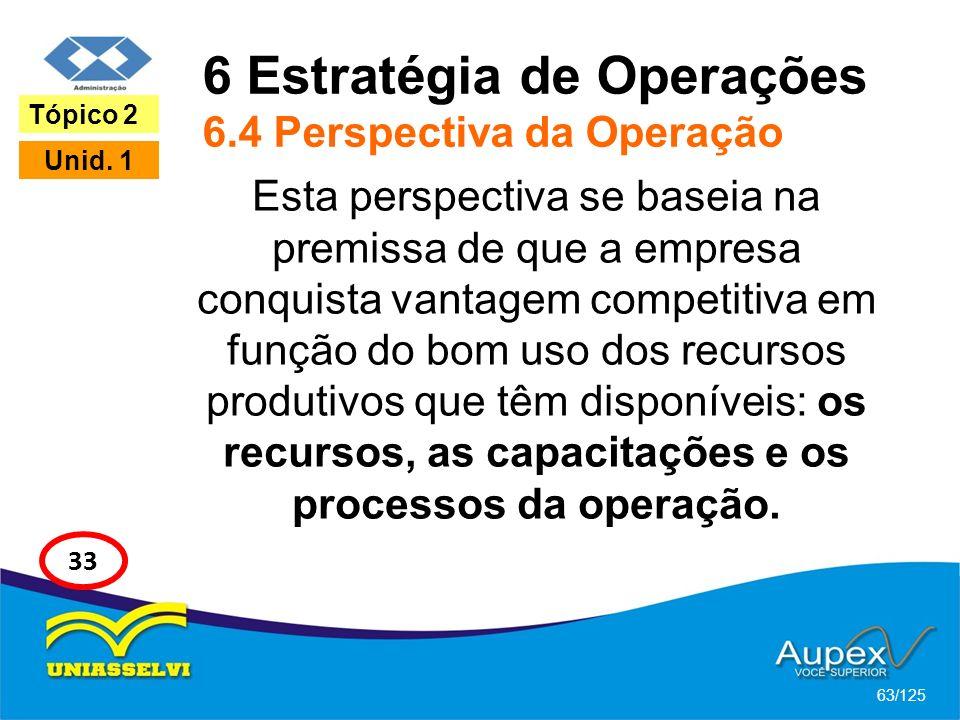 6 Estratégia de Operações 6.4 Perspectiva da Operação