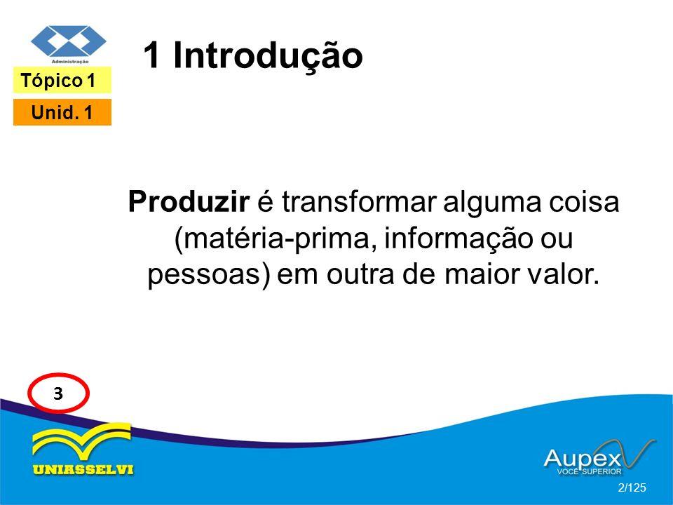 1 Introdução Tópico 1. Unid. 1. Produzir é transformar alguma coisa (matéria-prima, informação ou pessoas) em outra de maior valor.