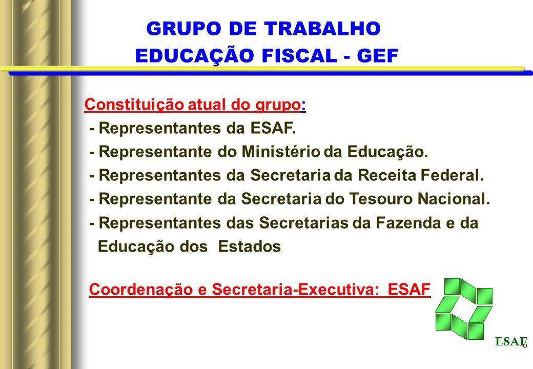 GRUPO DE TRABALHO EDUCAÇÃO FISCAL - GEF Constituição atual do grupo: