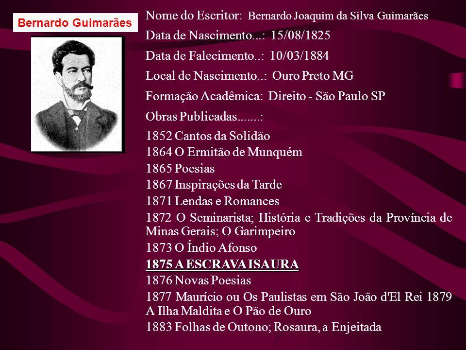 Nome do Escritor: Bernardo Joaquim da Silva Guimarães