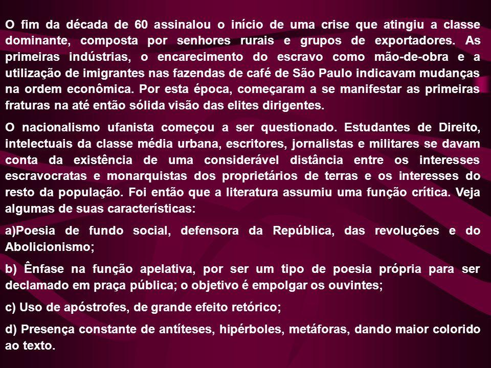 O fim da década de 60 assinalou o início de uma crise que atingiu a classe dominante, composta por senhores rurais e grupos de exportadores. As primeiras indústrias, o encarecimento do escravo como mão-de-obra e a utilização de imigrantes nas fazendas de café de São Paulo indicavam mudanças na ordem econômica. Por esta época, começaram a se manifestar as primeiras fraturas na até então sólida visão das elites dirigentes.