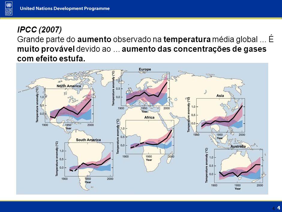IPCC (2007) A emissão continuada de GEE….poderá induzir muitas mudanças…. Serão muito provavelmente maiores que as observadas actualmente ..