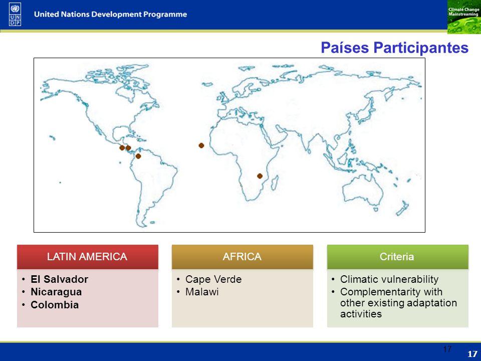 Países Participantes LATIN AMERICA El Salvador Nicaragua Colombia