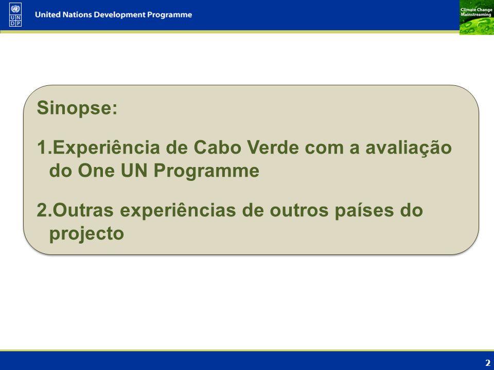 Sinopse: Experiência de Cabo Verde com a avaliação do One UN Programme.