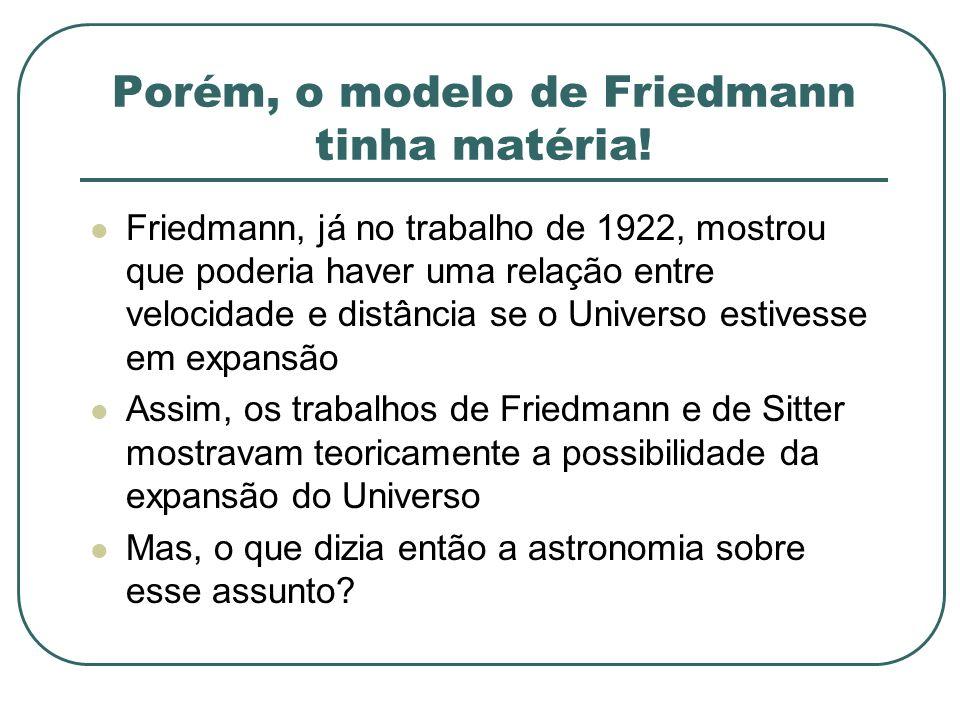 Porém, o modelo de Friedmann tinha matéria!