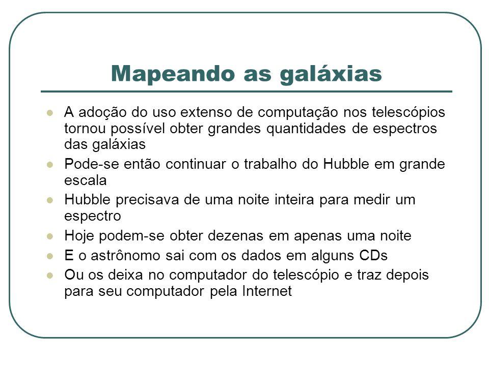 Mapeando as galáxias A adoção do uso extenso de computação nos telescópios tornou possível obter grandes quantidades de espectros das galáxias.