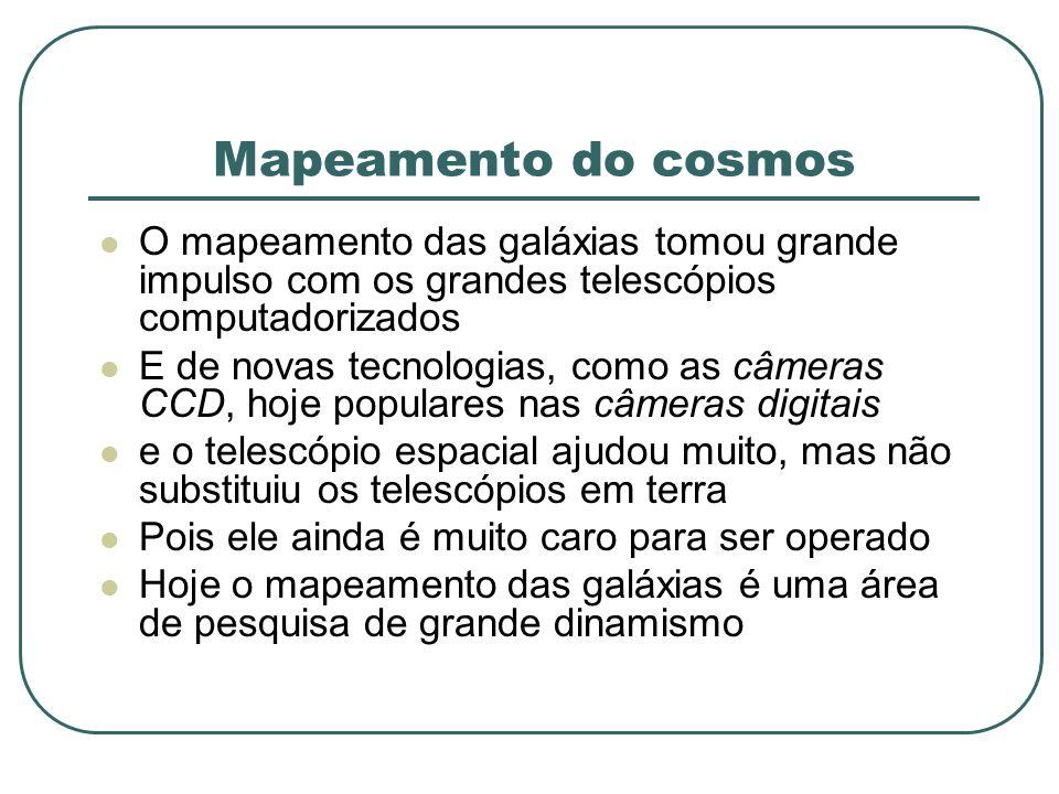 Mapeamento do cosmos O mapeamento das galáxias tomou grande impulso com os grandes telescópios computadorizados.