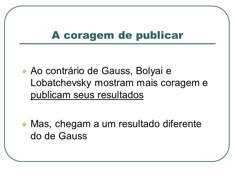 A coragem de publicar Ao contrário de Gauss, Bolyai e Lobatchevsky mostram mais coragem e publicam seus resultados.