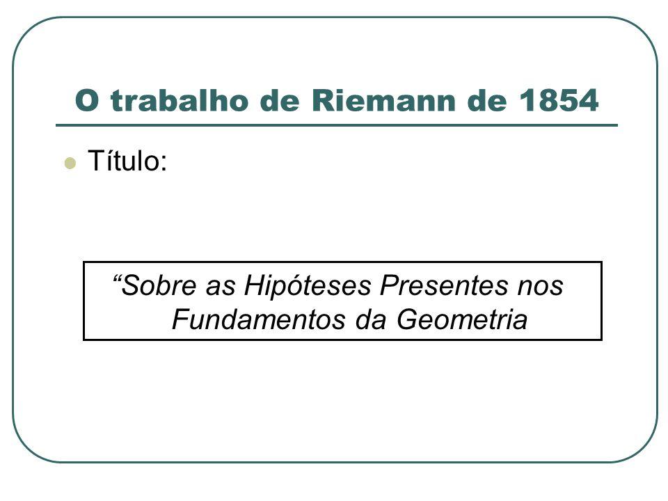 O trabalho de Riemann de 1854