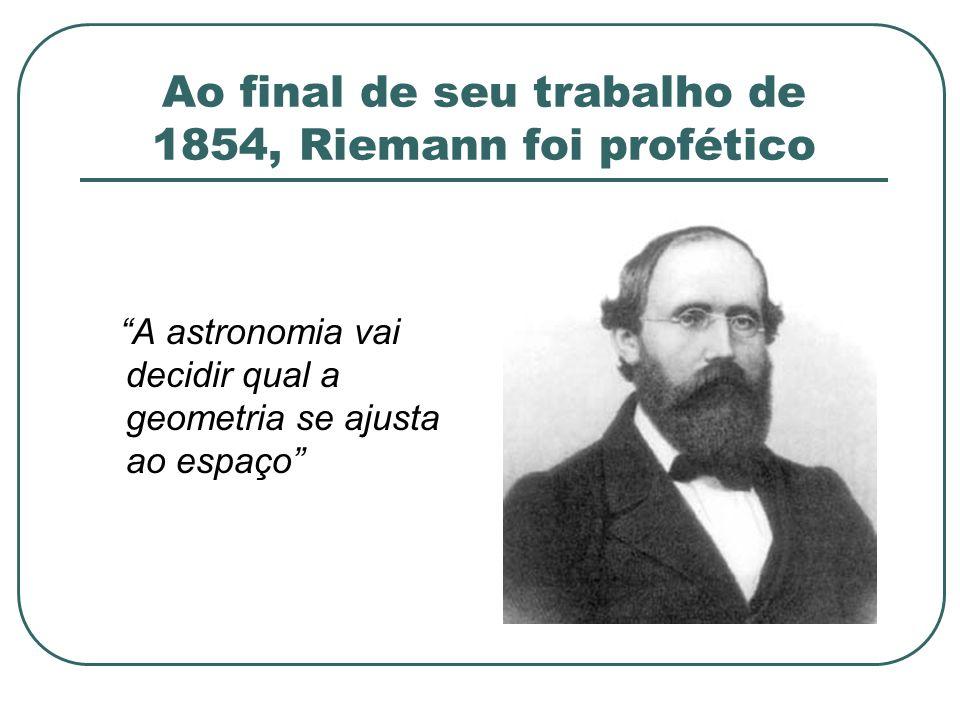 Ao final de seu trabalho de 1854, Riemann foi profético