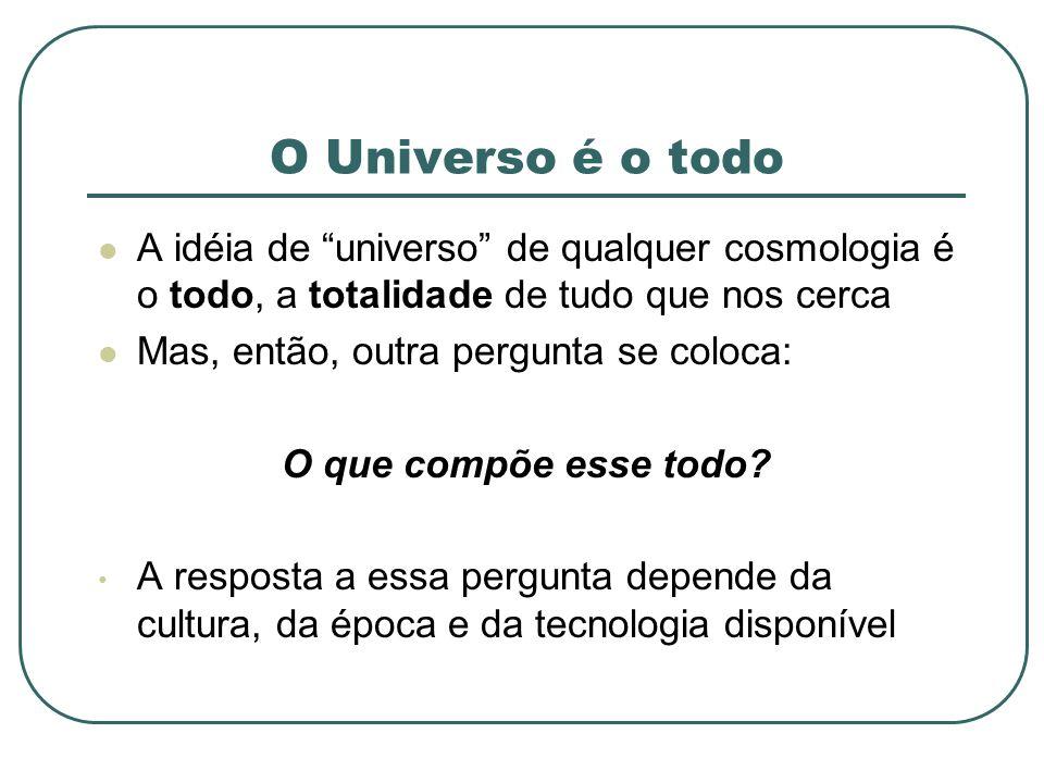 O Universo é o todo A idéia de universo de qualquer cosmologia é o todo, a totalidade de tudo que nos cerca.