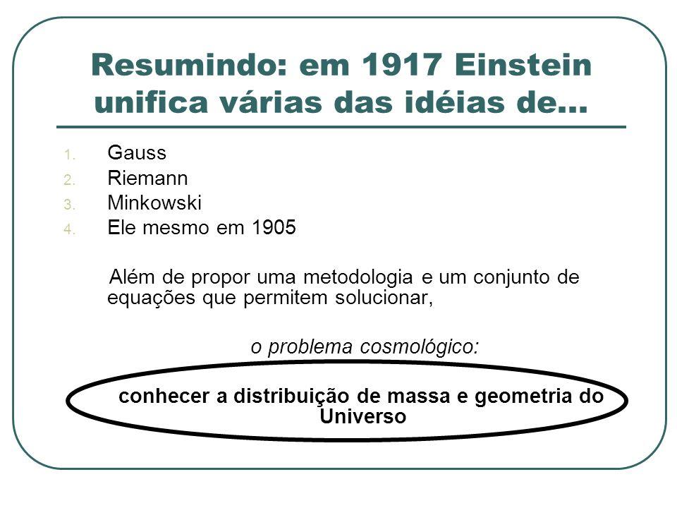 Resumindo: em 1917 Einstein unifica várias das idéias de...