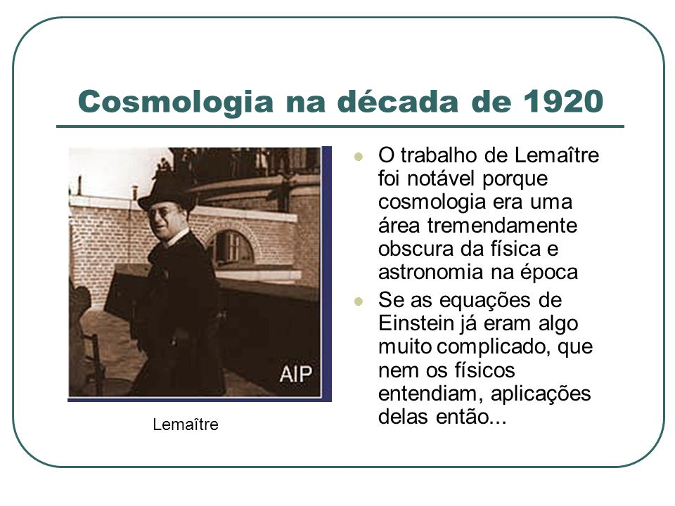 Cosmologia na década de 1920