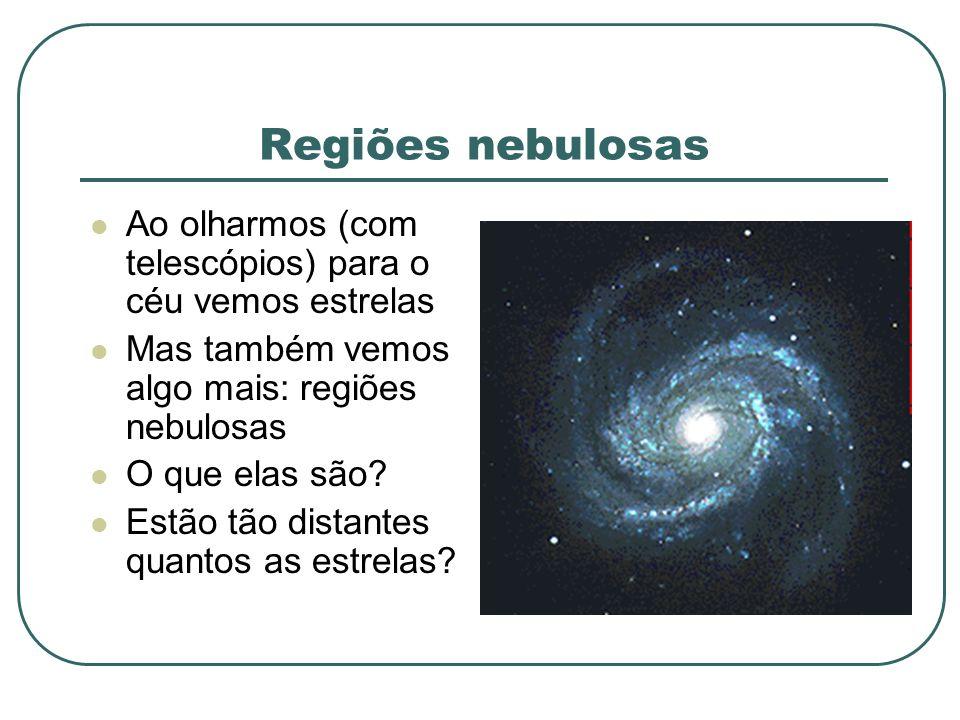 Regiões nebulosas Ao olharmos (com telescópios) para o céu vemos estrelas. Mas também vemos algo mais: regiões nebulosas.