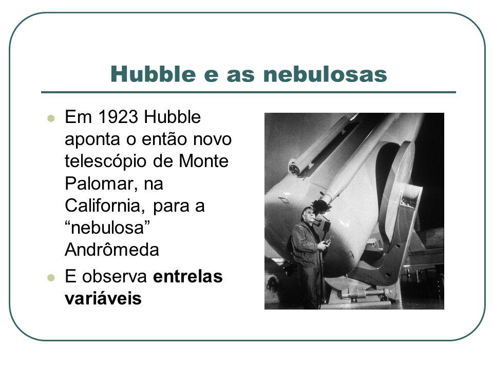 Hubble e as nebulosas Em 1923 Hubble aponta o então novo telescópio de Monte Palomar, na California, para a nebulosa Andrômeda.