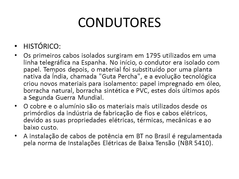 CONDUTORES HISTÓRICO: