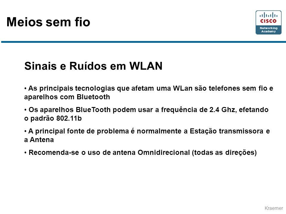 Meios sem fio Sinais e Ruídos em WLAN