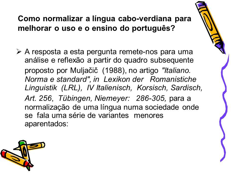 Como normalizar a língua cabo-verdiana para melhorar o uso e o ensino do português
