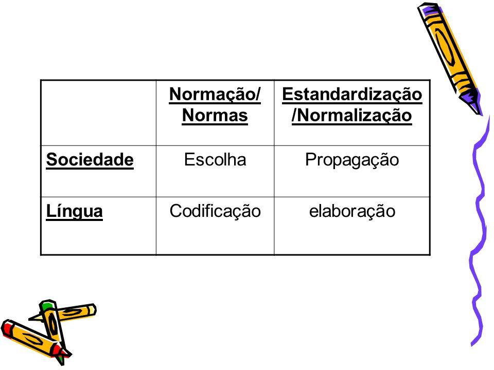 Estandardização/Normalização
