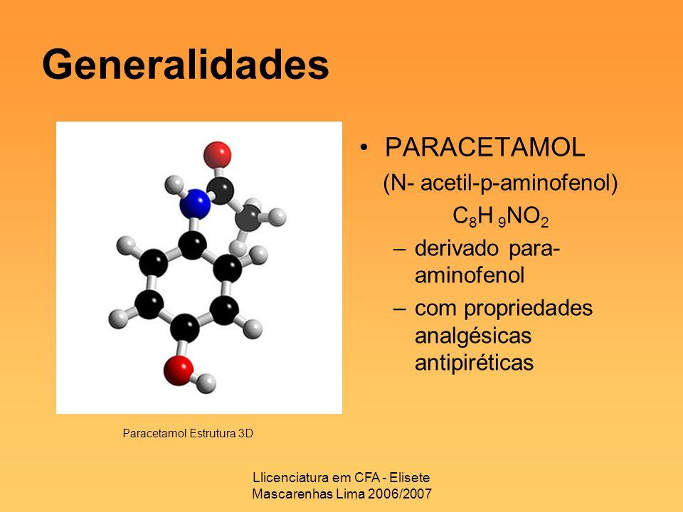 Generalidades PARACETAMOL (N- acetil-p-aminofenol) C8H 9NO2