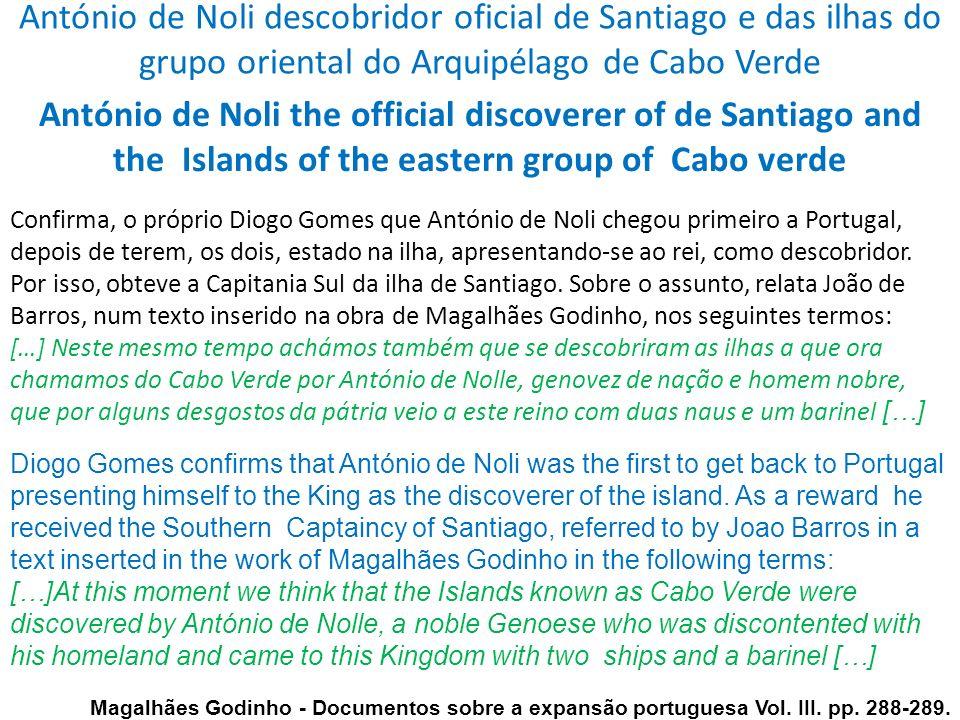 António de Noli descobridor oficial de Santiago e das ilhas do grupo oriental do Arquipélago de Cabo Verde