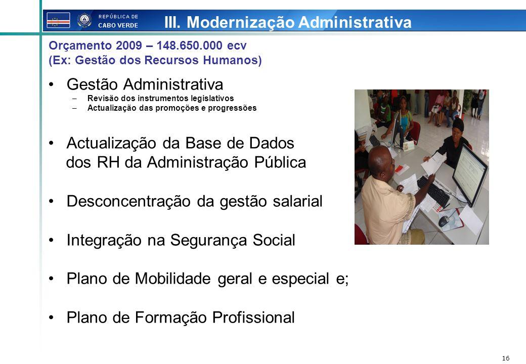 III. Modernização Administrativa